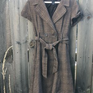 Dresses & Skirts - Brown Plaid A-line Trench Coat Dress with Tie
